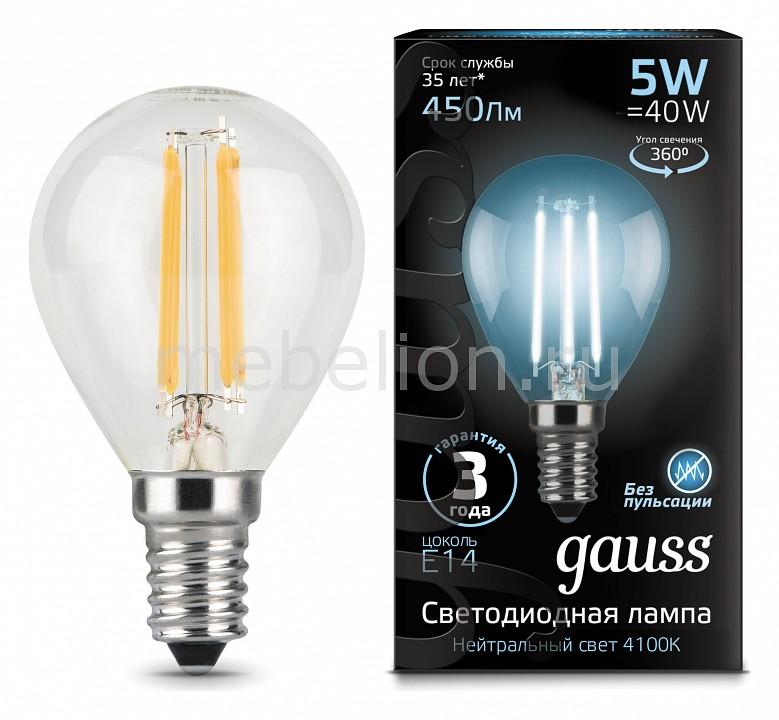 Лампа светодиодная Gauss 1058 E14 150-265В 5Вт 4100K 105801205 лампочка gauss gs 105801205