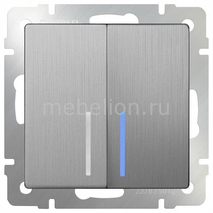 Выключатель проходной двухклавишный с подсветкой без рамки Werkel Серебряный рифленый WL09-SW-2G-2W-LED бра colosseo susanna 80311 2w