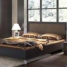 Кровать полутораспальная Сакура СМ-183.02.001 венге цаво/венге цаво/кожа Лара темная