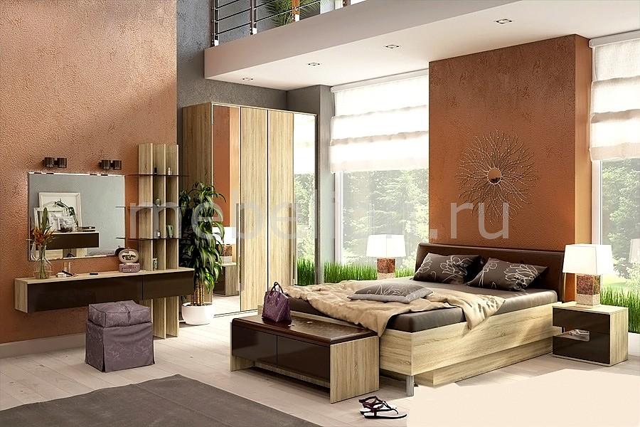 Гарнитур для спальни Ирма 8 дуб сонома/шоколад глянец mebelion.ru 0.000