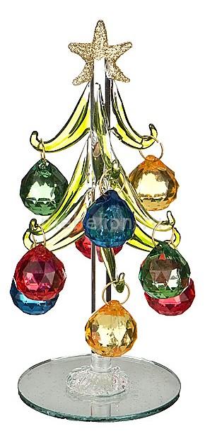 Ель новогодняя с елочными игрушками (15 см) ART 594-103
