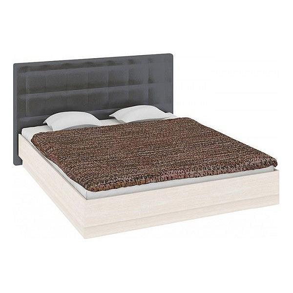 Кровать полутораспальная Токио СМ-131.13.002 дуб белфорт/кожа темная