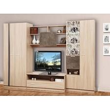 Стенка для гостиной Олимп-мебель Магна-1 ясень шимо светлый/камень темный