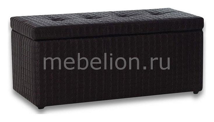 Банкетка-сундук Dreambag Лонг черная ребристая пуф dreambag лонг коричневая кожа