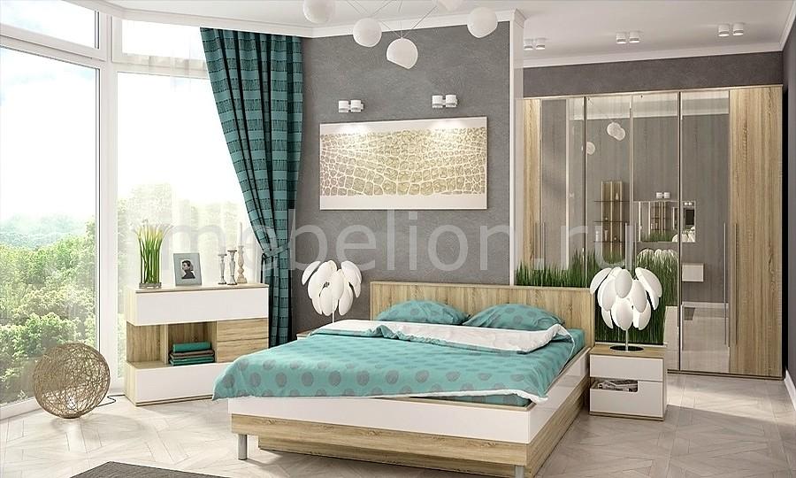 Гарнитур для спальни Ирма 17 дуб сонома/белый глянец  комод алита с пеленальной доской