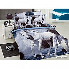 Комплект двуспальный Arya Сатин Печатное 3D Horse Beach F9189326