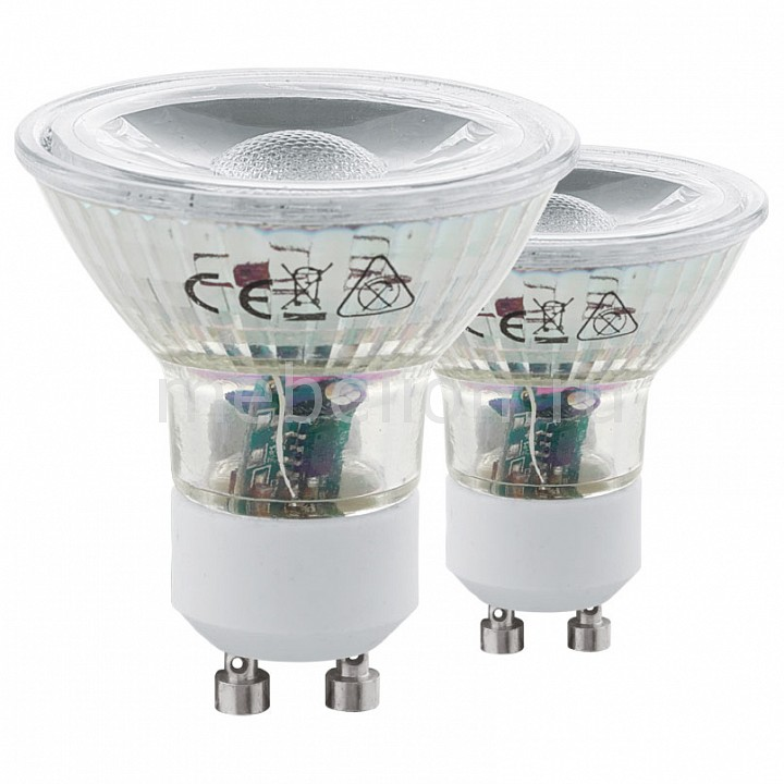 Комплект из 2 ламп светодиодных [поставляется по 10 штук] Eglo Комплект из 2 ламп светодиодных COB GU10 50Вт 4000K 11526 [поставляется по 10 штук] комплект из 2 ламп светодиодных eglo g9 3вт 220в 4000k 11675