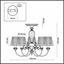 Люстра на штанге Odeon Light 2889/5C Madina