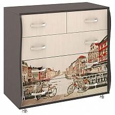 Комод Мебель Трия Тип 2 венге цаво/дуб молочный с цветным рисунком
