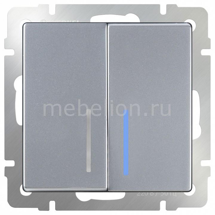 Выключатель проходной двухклавишный с подсветкой без рамки Werkel Серебряный WL06-SW-2G-2W-LED выключатель проходной двухклавишный с подсветкой werkel antik серебряный wl06 sw 1g wl06 sw 2g 2w led