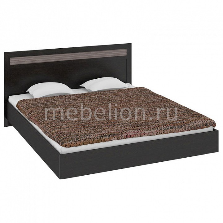 Кровать двуспальная Токио СМ-131.12.001 венге цаво/венге цаво/каналы дуба