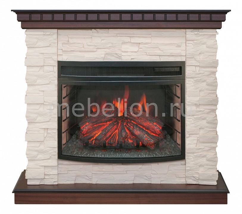 Купить Электрокамин напольный (108х400х101 см) Elford 00010010531, Real Flame, Россия, античный дуб, белый, железо, камень искусственный, МДФ, стекло, шпон