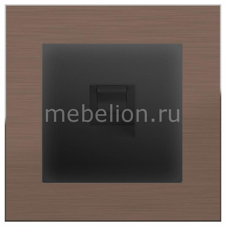 Розетка телефонная RJ-11 Werkel Aluminium (Черный матовый) WL08-DM600+WL08-RJ-11 телефонная розетка abb bjb basic 55 шато 1 разъем цвет черный