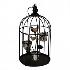 Подсвечник декоративный (25 см) Клетка с птичкой 16094