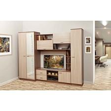 Стенка для гостиной Олимп-мебель Глория-6 ясень шимо темный/ясень шимо светлый