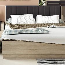 Кровать двуспальная Ларго СМ-181.01.004 дуб сонома/какао текстиль