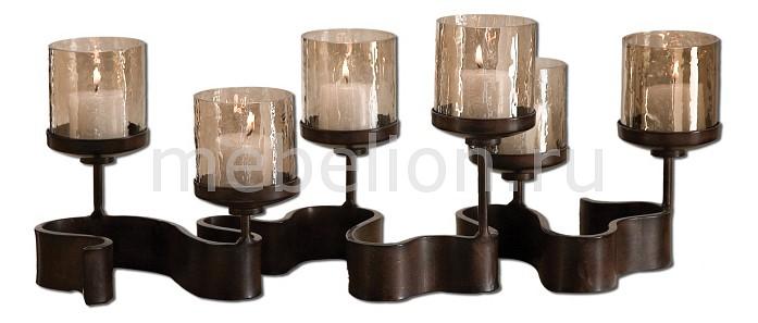 Подсвечник декоративный (61х25 см) Ribbon 19731 Uttermost Артикул - ANK_19731, Бренд - Uttermost (США), Серия - Ribbon, Ширина, мм - 610, Высота, мм - 250, Цвет - бронзовый, неокрашенный, Материал - металл, стекло, Тип поверхности - матовый, прозрачный