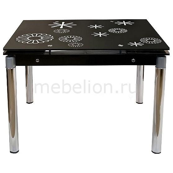 Стол обеденный TB008-6 черный с рисунком