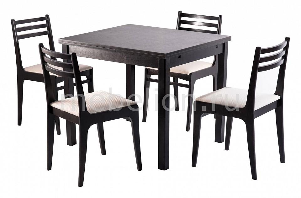 Набор обеденный Мебвилл Грис раздвижной большой стеклянный обеденный стол кубика нагано 2 стекло стекло темно коричневое венге