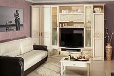 Шкаф комбинированный Александрия 618.020 Кожа Ленто/Рустика