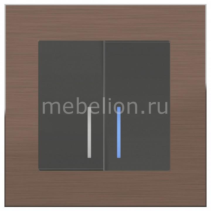 Выключатель двухклавишный с подсветкой Werkel Aluminium (Серо-коричневый) WL07-SW-2G-2W+WL07-SW-2G выключатель проходной двухклавишный с подсветкой werkel aluminium серо коричневый wl07 sw 1g wl07 sw 2g 2w led