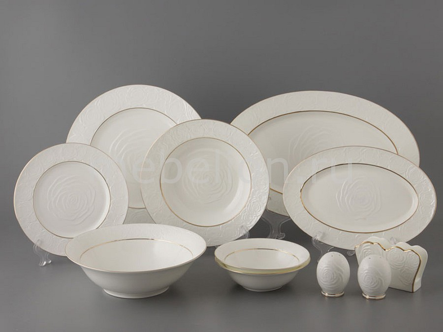 Купить Столовый сервиз Blanco 264-308, Porcelain manufacturing factory, Китай, молочный с золотой каймой, фарфор