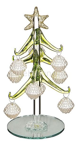 Ель новогодняя с елочными игрушками (15 см) ART 594-105