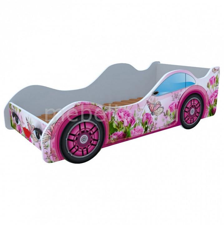 Кровать-машина Бабочка в розах M015