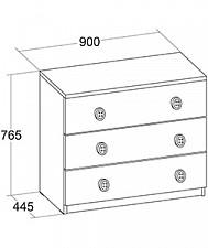 Комод Джинс 507.070 сантана/джинс/желтый бриллиант