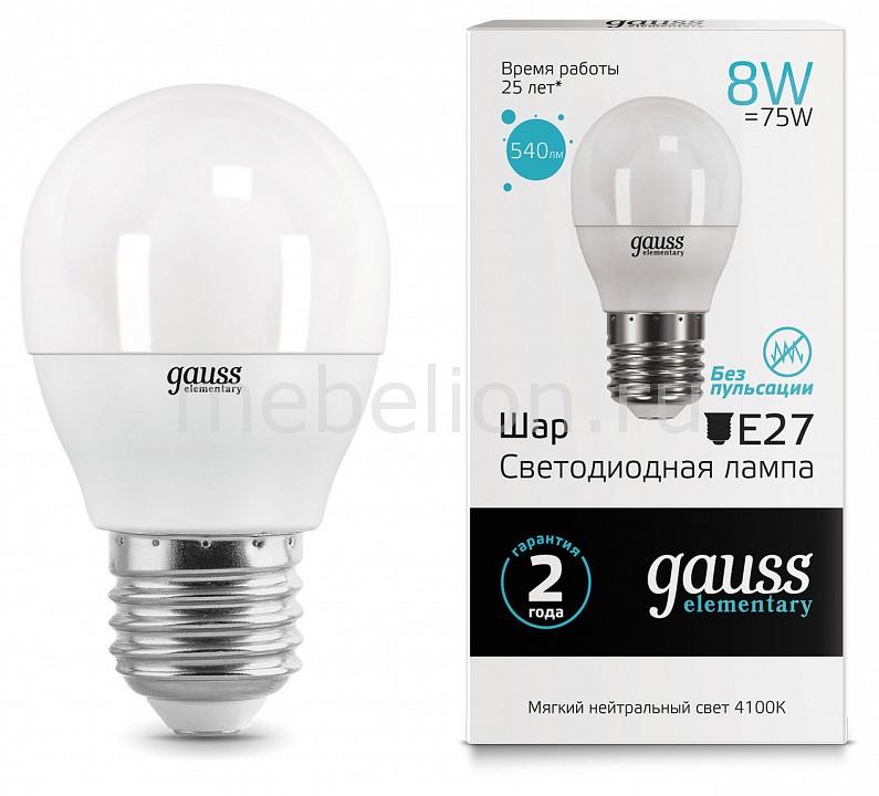 Лампа светодиодная Gauss 532 E27 180-240В 8Вт 4100K 53228
