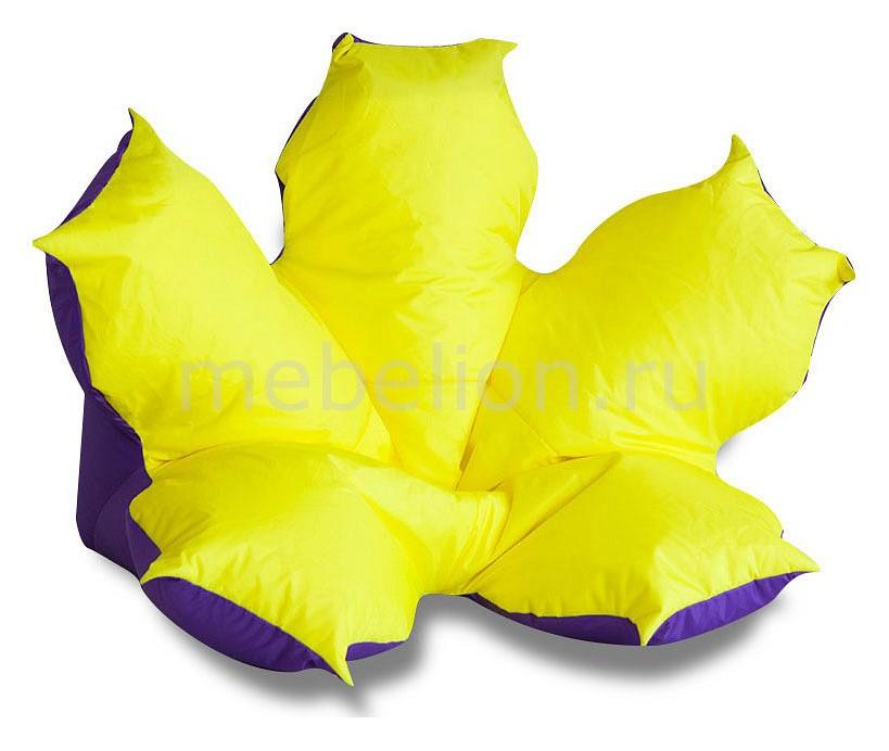 Кресло-мешок Цветок желто-фиолетовый  кожаный пуфик своими руками