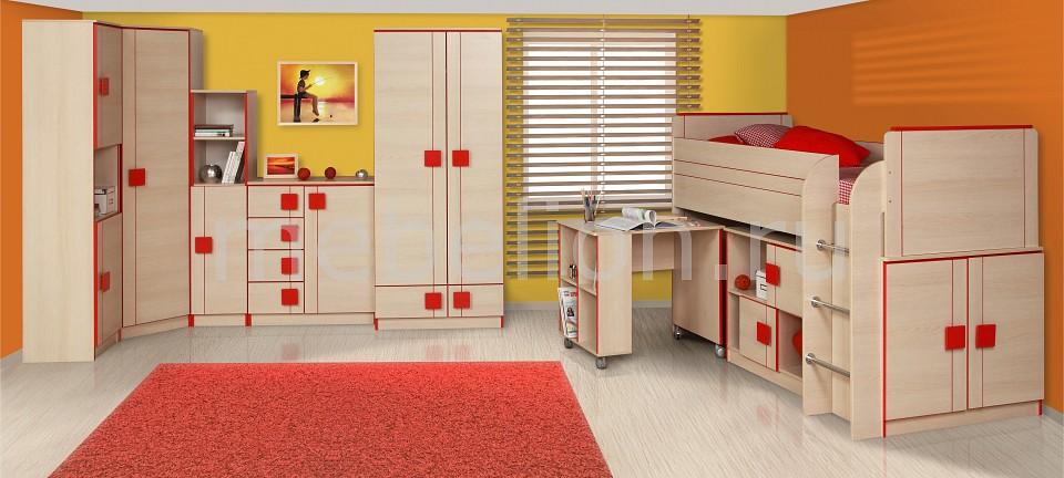 Гарнитур для детской Олимп-мебель Севилья дуб линдберг/красный глянец