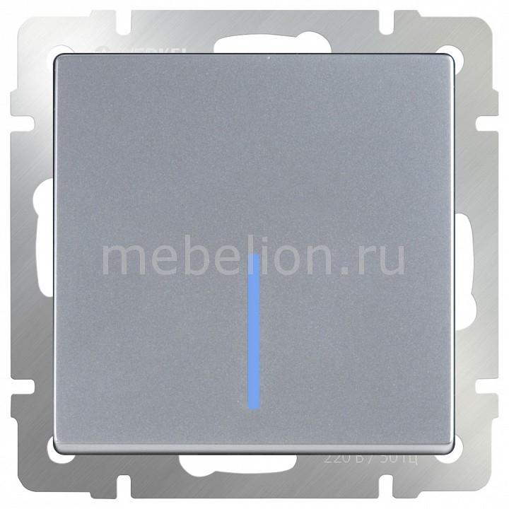 Выключатель проходной одноклавишный с подсветкой без рамки Werkel Серебряный WL06-SW-1G-2W-LED выключатель werkel серебряный wl06 sw 1g led выключатель одноклавишный с подсветкой серебряный