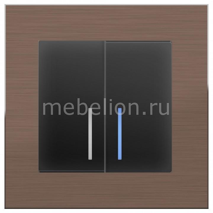 Выключатель двухклавишный с подсветкой Werkel без рамки Aluminium (Черный матовый) WL08-SW-2G-2W+WL08-SW-2G-LED тв розетки проходные werkel без рамки aluminium черный матовый wl08 sw 3g wl08 tv 2w