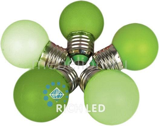 Лампа светодиодная RichLED RL-BL E27 220В 1Вт зеленый RL-BL-E27-G45-G цены онлайн