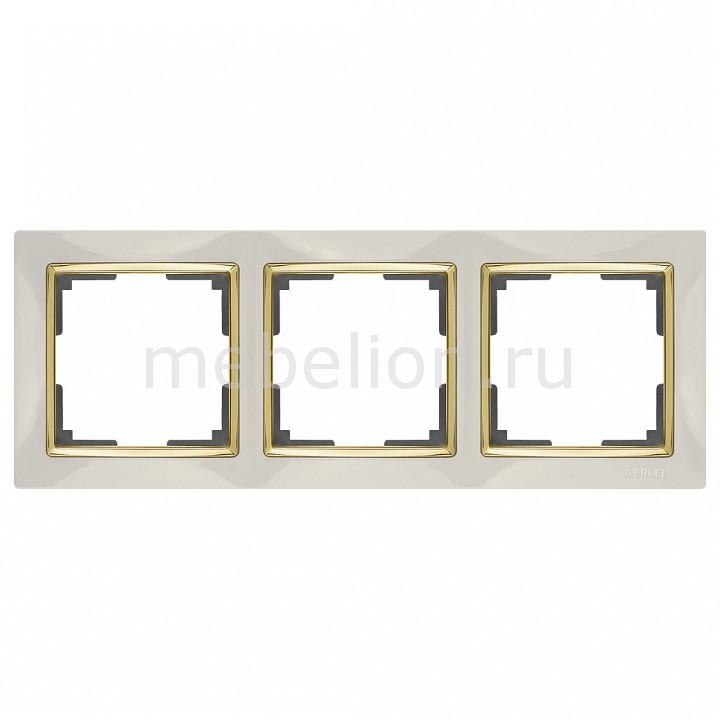 Рамка на 3 поста Werkel Snabb WL03-Frame-03-ivory-GD werkel рамка snabb на 1 пост слоновая кость золото werkel wl03 frame 01 ivory gd 4690389083860