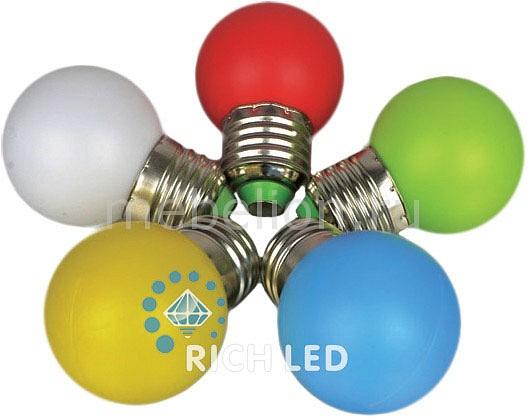 Лампа светодиодная RichLED RL-BL E27 220В 1Вт мультиколор RL-BL-E27-G45-RGB цены онлайн