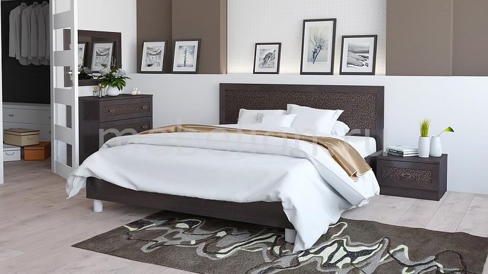 Гарнитур для спальни Сакура ГН-183.01.05 венге цаво/венге цаво/кожа Лара темная  как сшить мягкий пуфик своими руками