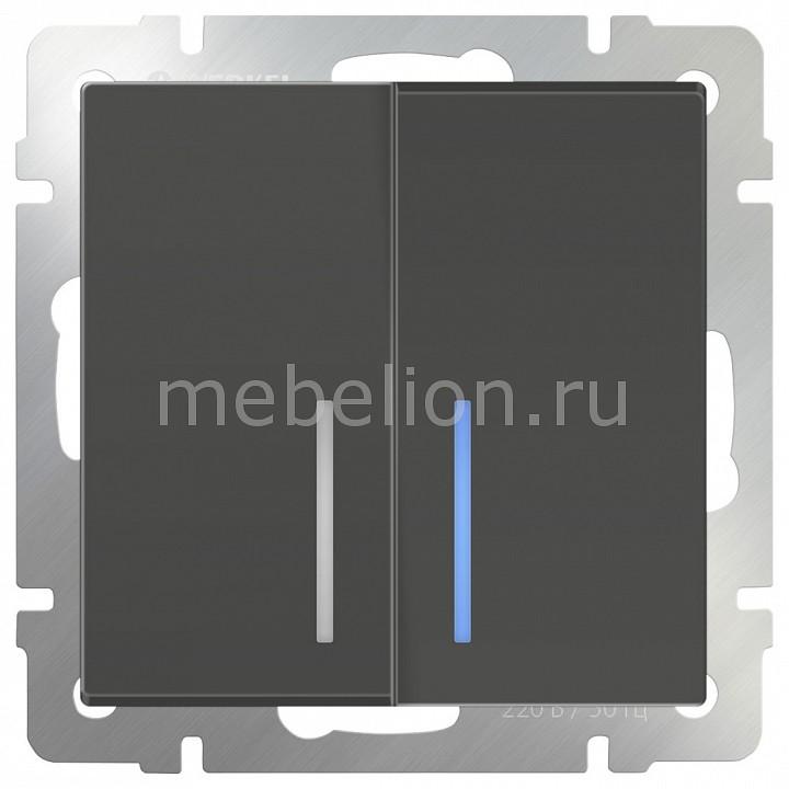 Выключатель двухклавишный с подсветкой без рамки Werkel Серо-коричневый WL07-SW-2G  цена и фото