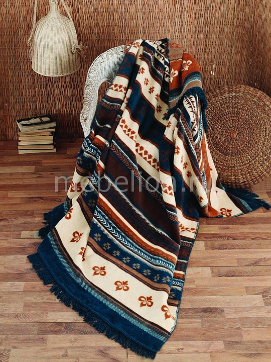 Плед (200х220 см) Leila Arya Артикул - AR_8680943022929, Бренд - Arya (Турция), Серия - Leila, Размер - 200х220, Материал - хлопок 60%, акрил 30%, полиэстер 10%, Тип ткани - флис, Цвет - коричневый, молочный, синий, Тип отделки - бахрома, Тема отделки - орнамент