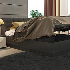 Кровать двуспальная Сити СМ-194.01.004 тексит/серый