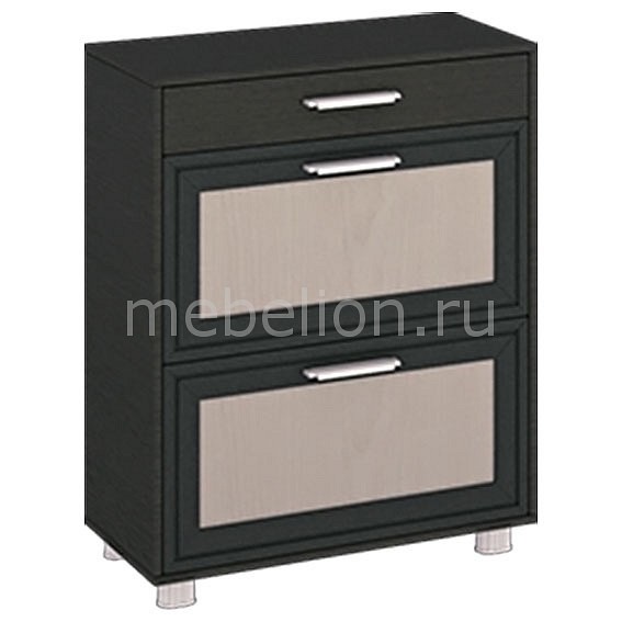 Мебель Трия Тумба для обуви Грета ПМ-119.10 дуб беловежский/штрихлак/венге
