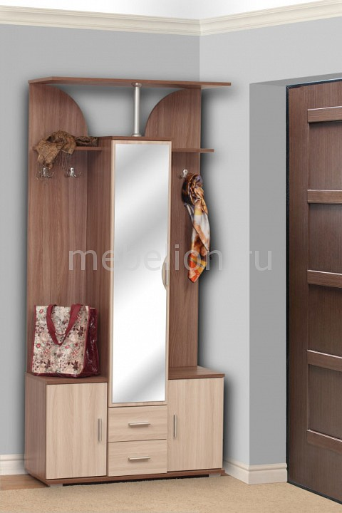 Стенка для прихожей Олимп-мебель Кармен-6 ясень шимо темный/ясень шимо светлый стенка для прихожей олимп мебель визит м11 ясень шимо темный ясень шимо светлый