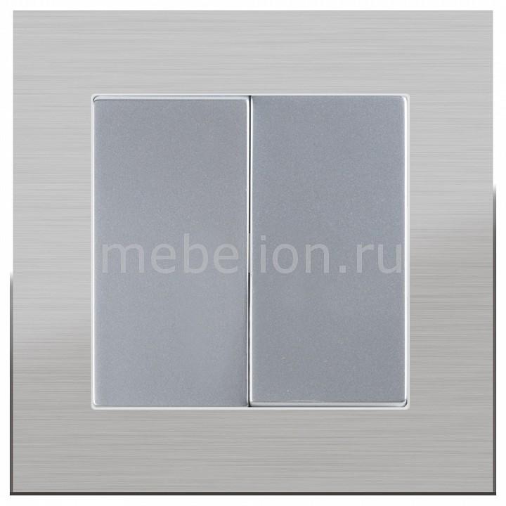 Выключатель проходной двухклавишный Werkel без рамки Aluminium(Серебряный) WL06-SW-2G-2W-LED+WL06-SW-2G-2W цена и фото
