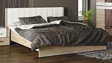 Кровать двуспальная Ларго СМ-181.01.002 дуб сонома/белая кожа
