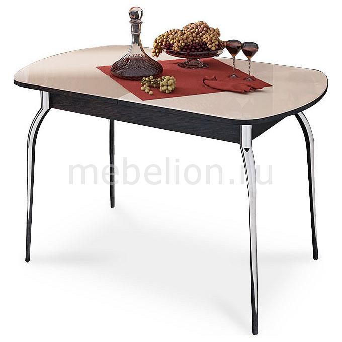 все цены на Стол обеденный Мебель Трия Милан хром/венге цаво/бежевый в интернете