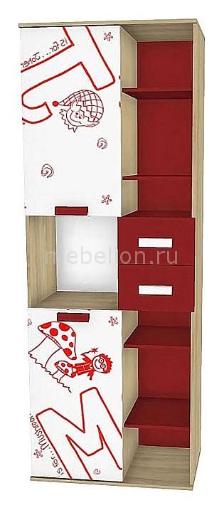 Купить Шкафы книжные Алфавит 506.100 сантана/белый/красный  Шкаф комбинированный Любимый Дом