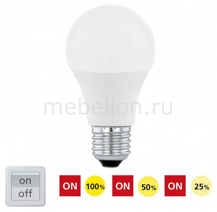 Лампа светодиодная диммируемая Eglo A60 E27 220В 10Вт 3000K 11561 инвертор автомобильный airline в подстаканник 12в 220в 120 вт 3usb api 120 00