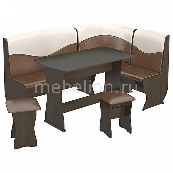 Набор кухонный Мебель Трия Уголок кухонный Уют-2 Люкс венге/«Санчо»/коричневый кухонный уголок трия остин темная иск кожа