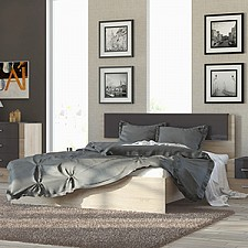 Кровать двуспальная Ларго СМ-181.01.001 дуб сонома/какао глянец